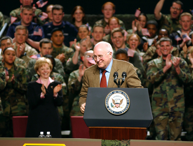 US Vice President Dick Cheney receives applause after his motivational speech to the troops of both Elmendorf Air Force Base (AFB) and neighboring Fort Richardson