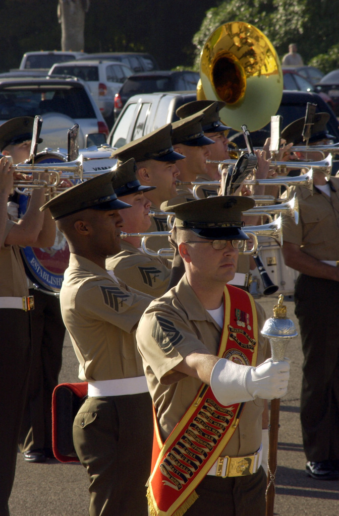 The US Marine Corps (USMC) Band from Marine Corps Recruit Depot (MCRD) San Diego, California (CA) performs during a graduation ceremony for Marines of Fox Company, held at MCRD San Diego, CA