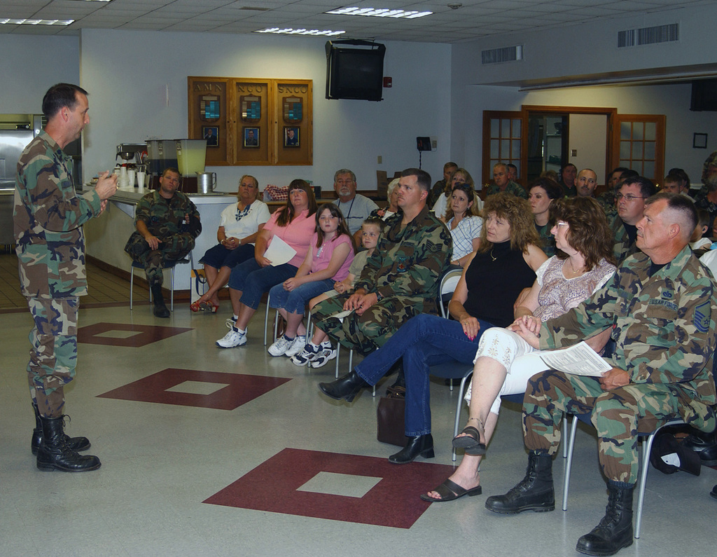 US Air Force (USAF) Lieutenant Colonel (LTC) Mark Momberge, Commander, 125th Civil Engineers Squadron (CES) speaks to his troops and their families during an out-processing briefing held prior to the Units deployment to Southwest Asia, held at Jacksonville, Florida (FL)