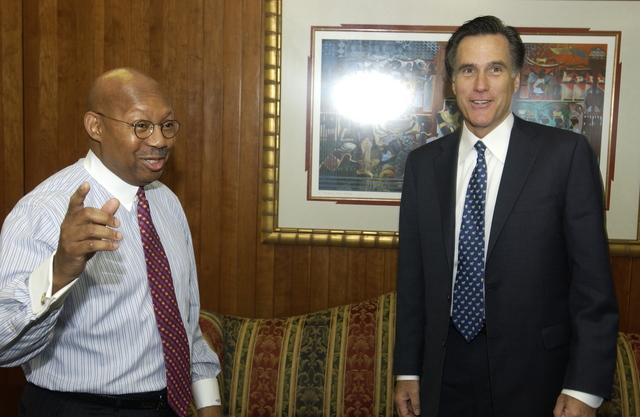 Secretary Alphonso Jackson with Mitt Romney