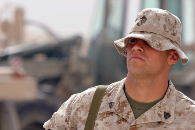US Marine Corps (USMC) Sergeant (SGT) Garrett Keller, Non-Commissioned Officer (NCO), Combat Engineers, Marine Wing Support Squadron 273 (MWSS-273), is on duty at Al Asad Air Base (AB), Al Anbar Province, Iraq, during Operation IRAQI FREEDOM
