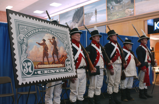 Meriwether Lewis and William Clark, the leaders of the 1804-1806 Lewis and Clark expedition, begin a new journey when the United States Postal Service (USPS) issued three commemorative postage stamps honoring each adventurer and their joint command to map and explore the lands west of the Mississippi (MS)