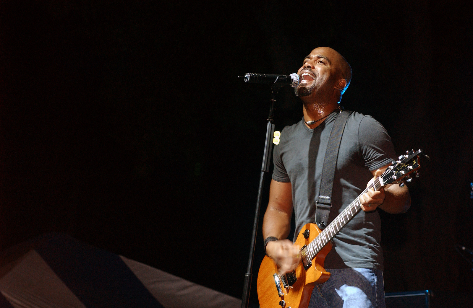 Hootie and the Blowfish lead singer Darius Rucker performs one of his many hit songs along with his band, during a free concert sponsored by the Air Force Reserve Command (AFRCOM) at Hickam Air Force Base (AFB), Hawaii (HI)