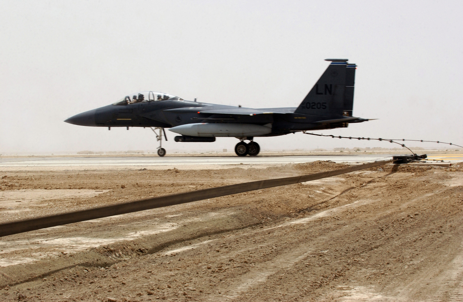A US Air Force (USAF) F-15 Strike Eagle fighter aircraft from Royal