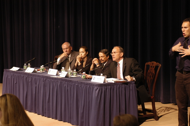 "[Assignment: 59-CF-DS-11872-04] Secretary's Open Forum session on the documentary film investigating Southeast Asian sex trafficking, ""Trading Women."" [Panel discussion in Loy Henderson Auditorium featured the film's narrator, actress Angelina Jolie; the film's writer-director, David Feingold; Under Secretary for Global Affairs Paula Dobriansky;  and Ambassador-at-Large and Director of State's Office to Monitor and Combat Trafficking in Persons, John Miller. Panelists were introduced by Open Forum Chairman William Keppler.] [Photographer: Ann Thomas--State] [59-CF-DS-11872-04_O_F_5_25_04_067.jpg]"