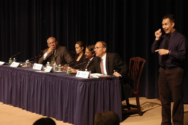 "[Assignment: 59-CF-DS-11872-04] Secretary's Open Forum session on the documentary film investigating Southeast Asian sex trafficking, ""Trading Women."" [Panel discussion in Loy Henderson Auditorium featured the film's narrator, actress Angelina Jolie; the film's writer-director, David Feingold; Under Secretary for Global Affairs Paula Dobriansky;  and Ambassador-at-Large and Director of State's Office to Monitor and Combat Trafficking in Persons, John Miller. Panelists were introduced by Open Forum Chairman William Keppler.] [Photographer: Ann Thomas--State] [59-CF-DS-11872-04_O_F_5_25_04_065.jpg]"