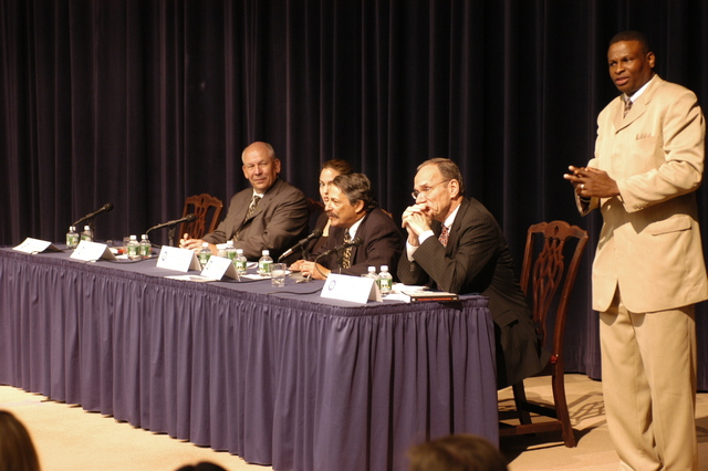 "[Assignment: 59-CF-DS-11872-04] Secretary's Open Forum session on the documentary film investigating Southeast Asian sex trafficking, ""Trading Women."" [Panel discussion in Loy Henderson Auditorium featured the film's narrator, actress Angelina Jolie; the film's writer-director, David Feingold; Under Secretary for Global Affairs Paula Dobriansky;  and Ambassador-at-Large and Director of State's Office to Monitor and Combat Trafficking in Persons, John Miller. Panelists were introduced by Open Forum Chairman William Keppler.] [Photographer: Ann Thomas--State] [59-CF-DS-11872-04_O_F_5_25_04_043.jpg]"