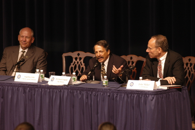 "[Assignment: 59-CF-DS-11872-04] Secretary's Open Forum session on the documentary film investigating Southeast Asian sex trafficking, ""Trading Women."" [Panel discussion in Loy Henderson Auditorium featured the film's narrator, actress Angelina Jolie; the film's writer-director, David Feingold; Under Secretary for Global Affairs Paula Dobriansky;  and Ambassador-at-Large and Director of State's Office to Monitor and Combat Trafficking in Persons, John Miller. Panelists were introduced by Open Forum Chairman William Keppler.] [Photographer: Ann Thomas--State] [59-CF-DS-11872-04_O_F_5_25_04_079.jpg]"