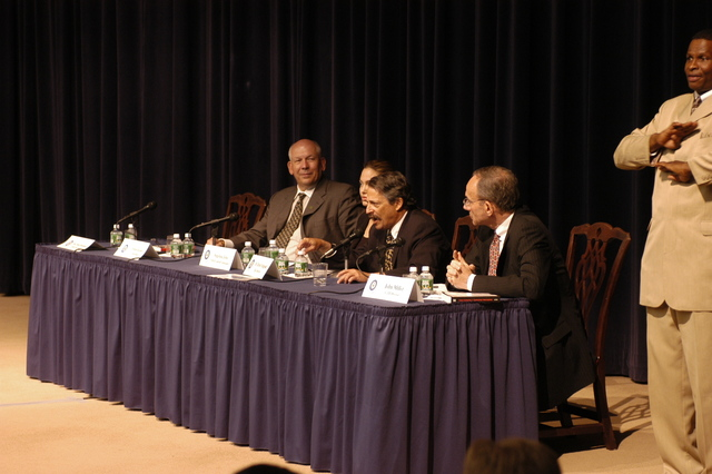 "[Assignment: 59-CF-DS-11872-04] Secretary's Open Forum session on the documentary film investigating Southeast Asian sex trafficking, ""Trading Women."" [Panel discussion in Loy Henderson Auditorium featured the film's narrator, actress Angelina Jolie; the film's writer-director, David Feingold; Under Secretary for Global Affairs Paula Dobriansky;  and Ambassador-at-Large and Director of State's Office to Monitor and Combat Trafficking in Persons, John Miller. Panelists were introduced by Open Forum Chairman William Keppler.] [Photographer: Ann Thomas--State] [59-CF-DS-11872-04_O_F_5_25_04_045.jpg]"