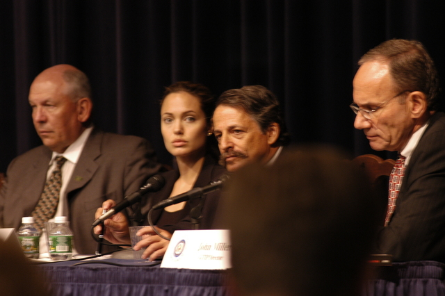 "[Assignment: 59-CF-DS-11872-04] Secretary's Open Forum session on the documentary film investigating Southeast Asian sex trafficking, ""Trading Women."" [Panel discussion in Loy Henderson Auditorium featured the film's narrator, actress Angelina Jolie; the film's writer-director, David Feingold; Under Secretary for Global Affairs Paula Dobriansky;  and Ambassador-at-Large and Director of State's Office to Monitor and Combat Trafficking in Persons, John Miller. Panelists were introduced by Open Forum Chairman William Keppler.] [Photographer: Ann Thomas--State] [59-CF-DS-11872-04_O_F_5_25_04_053.jpg]"