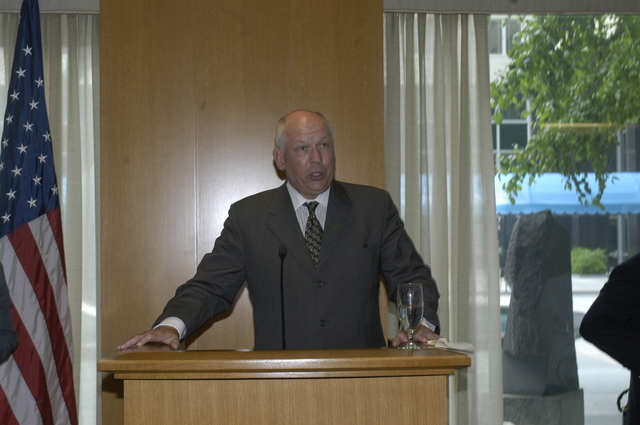 "[Assignment: 59-CF-DS-11872A-04] Reception at Harry S. Truman Building for actress Angelina Jolie, greeted by Department officials and staff [including Secretary Colin Powell, Under Secretary for Global Affairs Paula Dobriansky, and Secretary's Open Forum Chairman William Keppler. Jolie participated in Open Forum panel discussion of the documentary film that she narrated, ""Trading Women,"" an investigation of Southeast Asian sex trafficking.] [Photographer: Ann Thomas--State] [59-CF-DS-11872A-04_DSC_0066.JPG]"