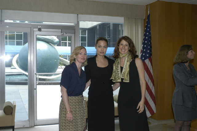 "[Assignment: 59-CF-DS-11872A-04] Reception at Harry S. Truman Building for actress Angelina Jolie, greeted by Department officials and staff [including Secretary Colin Powell, Under Secretary for Global Affairs Paula Dobriansky, and Secretary's Open Forum Chairman William Keppler. Jolie participated in Open Forum panel discussion of the documentary film that she narrated, ""Trading Women,"" an investigation of Southeast Asian sex trafficking.] [Photographer: Ann Thomas--State] [59-CF-DS-11872A-04_DSC_0008.JPG]"