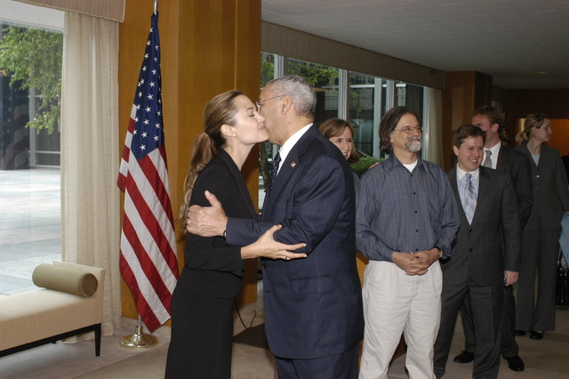 "[Assignment: 59-CF-DS-11872A-04] Reception at Harry S. Truman Building for actress Angelina Jolie, greeted by Department officials and staff [including Secretary Colin Powell, Under Secretary for Global Affairs Paula Dobriansky, and Secretary's Open Forum Chairman William Keppler. Jolie participated in Open Forum panel discussion of the documentary film that she narrated, ""Trading Women,"" an investigation of Southeast Asian sex trafficking.] [Photographer: Ann Thomas--State] [59-CF-DS-11872A-04_O_F_5_25_04_086.jpg]"