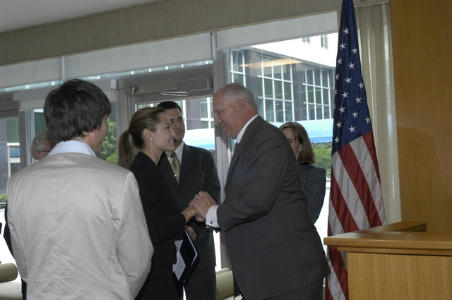 "[Assignment: 59-CF-DS-11872A-04] Reception at Harry S. Truman Building for actress Angelina Jolie, greeted by Department officials and staff [including Secretary Colin Powell, Under Secretary for Global Affairs Paula Dobriansky, and Secretary's Open Forum Chairman William Keppler. Jolie participated in Open Forum panel discussion of the documentary film that she narrated, ""Trading Women,"" an investigation of Southeast Asian sex trafficking.] [Photographer: Ann Thomas--State] [59-CF-DS-11872A-04_DSC_0070.JPG]"