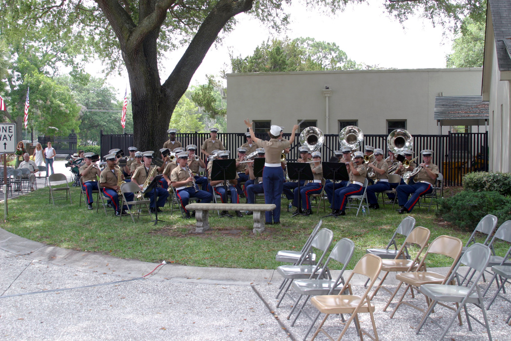 The US Marine Corps (USMC) Band from Recruit Depot Parris Island, South Carolina (SC) performs during the Memorial Day Ceremony at the National Cemetery in Beaufort, South Carolina (SC)