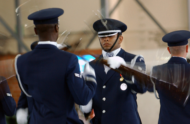 During their visit to Royal Air Force (RAF) Mildenhall, United Kingdom (GBR), drill team members simultaneously twirl their 13-pound M1 Garand rifles while performing a sequence of events unmatched by any other professional military drill team. The US Air Force Honor Guard Drill Team, 11th Operations Group (OG), Bolling Air Force Base (AFB), Washington D.C., serves to foster pride and confidence in our evolving air and space expeditionary force, inspires Air Force awareness in the military and civilian community, and encourages young men and women to serve their country. Through its complex drill routines with a fully operational M1 Garand rifle and fixed bayonets, the drill team...