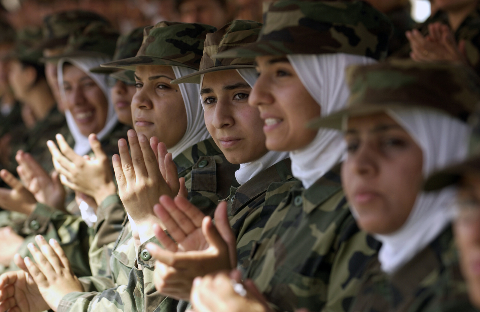 A squad of female Iraqi Soldiers attend graduation ceremonies for their male counterparts in Amman, Jordan (JOR), during Operation IRAQI FREEDOM