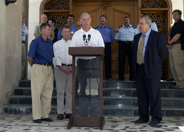 "US Senator Joseph Biden, D-DE, addresses the press after having a brief meeting with Iraq's interim Prime Minister lyad Allawi (right) and fellow US Senators Lindsey Graham (left), R- SC; and Tom Daschle, D-SD, inside the green zone of Baghdad, Iraq (IRQ), during Operation IRAQI FREEDOM. ""I think that the ultimate security and success in Iraq is still clearly within the grasp of the prime minister, his cabinet,"" said Senator Biden"