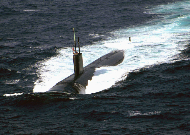 The US Navy (USN) Los Angeles Class Fast-Attack Submarine USS SCRANTON (SSN 756) underway participating in Operation INSPIRED SIREN. INSPIRED SIREN is a bilateral joint exercise between the United States and Pakistani Navies. The US and Pakistan are conducting training in Maritime Security Operations (MSO), air defense, anti- submarine warfare, surface warfare, mine counter measures, electronic warfare, replenishment at sea and command and control