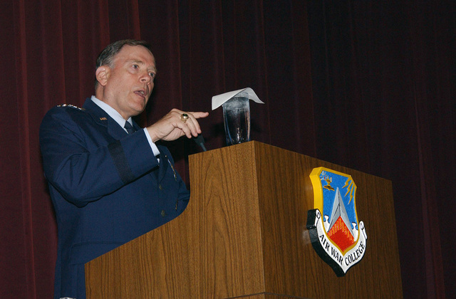 US Air Force (USAF) General (GEN) John Jumper, CHIEF of STAFF of the Air Force (CSAF), speaks to the personnel and attendees at the 51st Annual National Security Forum, held at the Air War College at Maxwell Air Force Base (AFB), Alabama (AL)