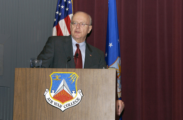 US Under Secretary of the US Air Force (USAF) the honorable Mister Peter Teets, speaks to the personnel and attendees at the 51st Annual National Security Forum, held at the Air War College at Maxwell Air Force Base (AFB), Alabama (AL)