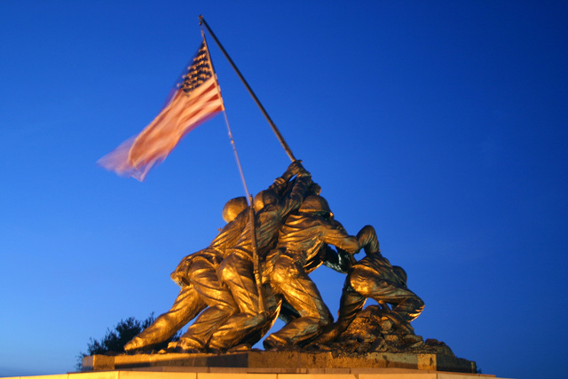 The US Marine Corps (USMC) Iwo Jima Memorial is illuminated at dusk during the annual Independence Day celebration at Marine Corps Recruit Depot (MCRD) Parris Island, South Carolina (SC)