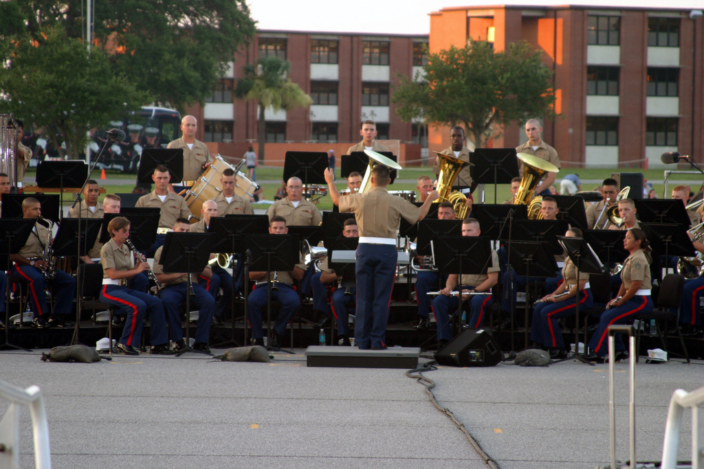 The US Marine Corps (USMC) Marine Corps Recruit Depot (MCRD) Parris Island, South Carolina (SC), Band performs a concert of patriotic songs during the annual Independence Day celebration at MCRD Parris Island, SC