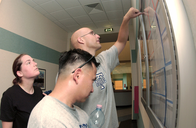 US Air Force (USAF) SENIOR AIRMAN (SRA) Jennifer Fesperman, STAFF Sergeant (SSGT) Christopher McKeen (bottom) and SSGT Adrien Lopez calculate their overall score for their annual fitness tests at the Dragon Fitness Center at Aviano Air Base (AB), Italy (ITA)
