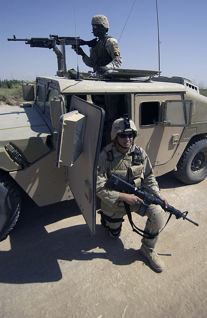 US Air Force (USAF) Security Forces (SF) personnel from the