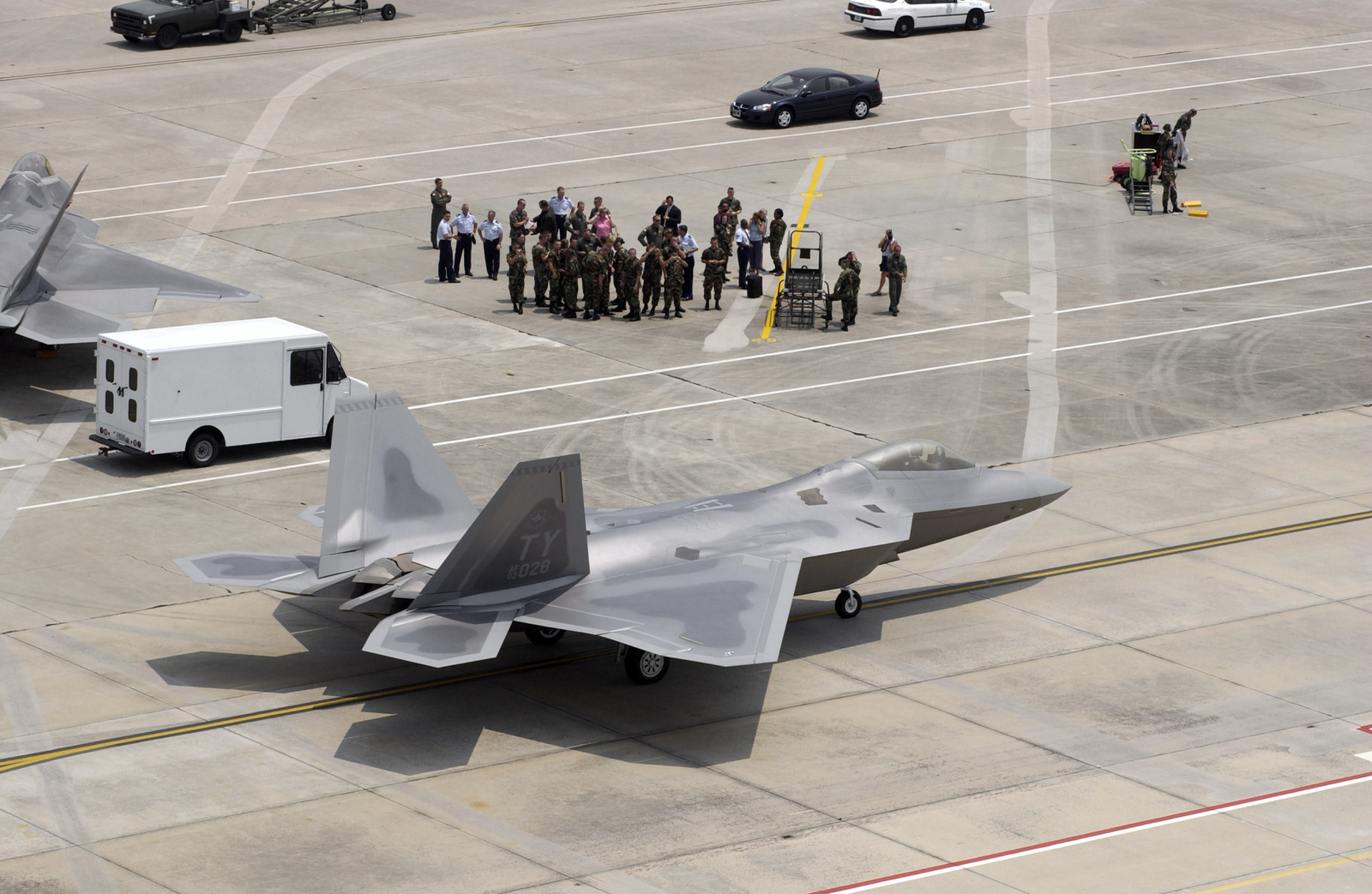 US Air Force (USAF) Major (MAJ) Max Maroska, with the 43rd Fighter Squadron (FS), delivers the newest F/A-22 Raptor to Tyndall Air Force Base (AFB), Florida (FL). This is the squadrons seventh new Raptor. He was met on the ramp by a group of pilots, maintainers and visitors eager to see the newest addition to the squadron