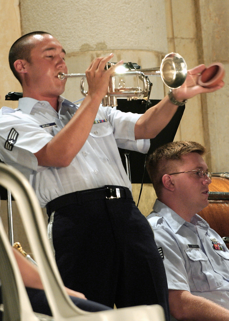 US Air Force (USAF) SENIOR AIRMAN (SRA) Pat Brush plays the trumpet during a US Air Forces in Europe (USAFE) Band Concert at Villa Manin, Italy (ITA). The band performed free of charge for the town of Passariano on the grounds of the 18th century villa built in allegiance to the Venetian Republic