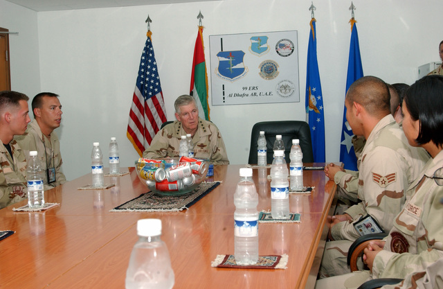 US Air Force (USAF) General (GEN) Myers, Chairman of the Joint Chiefs of STAFF (CSC), takes time to meet with some of the outstanding Airmen from the 380th Air Expeditionary Wing (AEW) at a forward-deployed location, in support of Operation IRAQI FREEDOM