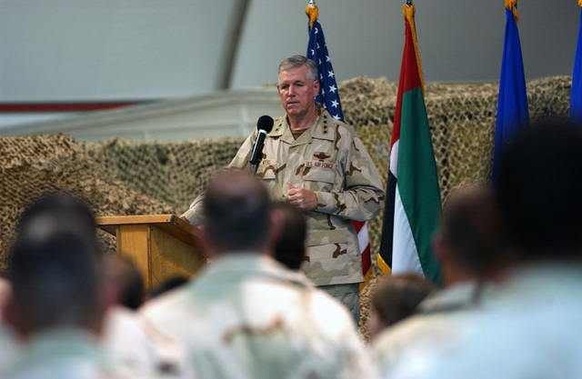US Air Force (USAF) General (GEN) Myers, Chairman of the Joint Chiefs of STAFF (CSC), addresses members of the 380th Air Expeditionary Wing (AEW) at a forward-deployed location, in support of Operation IRAQI FREEDOM