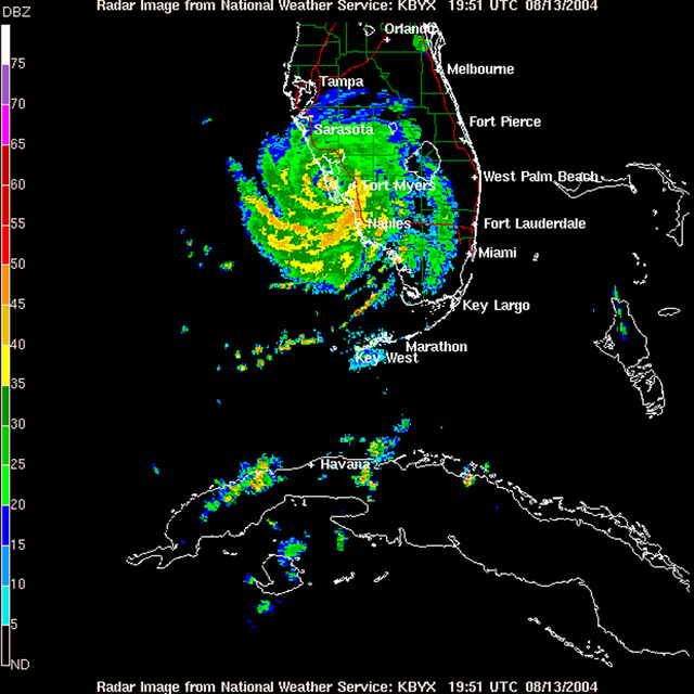 Satellite and Radar Views of Hurricane Charley