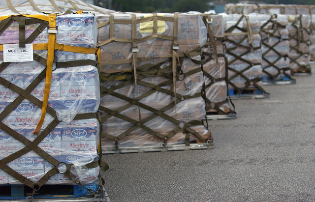 Pallets in a staging area prior to distribution to Hurricane Charley victims in Lakeland, Florida (FL). Lakeland Regional Airfield is the center of relief operations in Florida for the Federal Emergency Management Agency (FEMA). The USAF is providing support by transporting tons of equipment, personnel, and supplies via air, expediting the delivery of the needed supplies