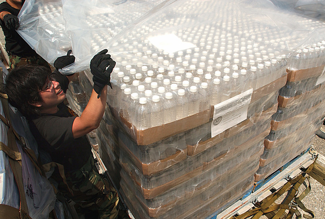US Air Force (USAF) MASTER Sergeant (MSGT) Tracy Jenkins, 25th Aerial Port Squadron (APS), Maxwell Air Force Base (AFB), Alabama (AL), deployed to Dobbins Air Reserve Base (ARB), Georgia (GA), builds pallets of fresh water bottles. They are supporting relief operations conducted by Federal Emergency Management Agency (FEMA) in response to Hurricane Charley victims of Florida (FL)