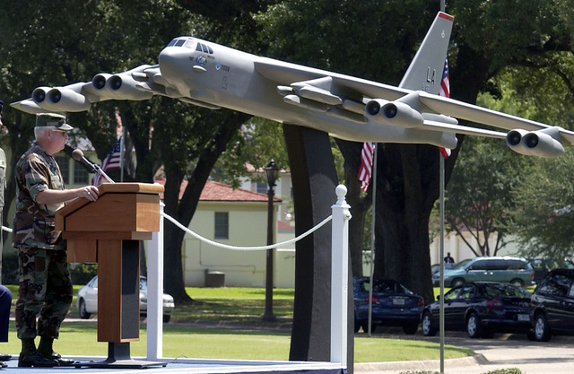 US Air Force (USAF) General (GEN) Hal Hornburg, Commander, Air Combat Command (ACC), dedicates a one-eighth-scale model of a USAF B-52H Superfortress bomber to those who support the mission of Barksdale Air Force Base (AFB), Louisiana (LA). The aircraft's tail number ends in 008, in honor of the 8th Air Force (AF) Headquarters (HQ) at Barksdale. The model is 20 feet long with a 23-foot wingspan. The Boeing Corporation, which designed and built the B-52 bomber, donated the model
