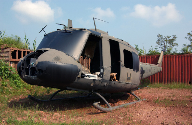 040824-F-2233S-025 (Aug. 24, 2004)A photo of an old US Army (USA) UH-1 Iroquois helicopter used for target practice by US military forces at Bollen Range located at Fort Indiantown Gap, Pennsylvania (PA). The primary mission of Fort Indiantown Gap, headquarters of the Pennsylvania National Guard (PNG), is military training for the active and reserve components of all the services.U.S. Air Force official photo by SENIOR AIRMAN Matt Schwartz (RELEASED)