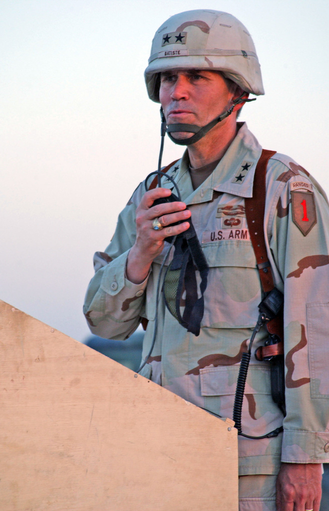U.S. Army MAJ. GEN. Batiste, Commander, 1ST Infantry Division, addresses the Soldiers of 2nd Battalion, 2nd Infantry Regiment, 3rd Brigade, during a Combat Infantry Badge pinning ceremony at Forward Operating Base (FOB) Normandy, Diyala Province, Iraq, on Aug. 25, 2004, during Operation Iraqi Freedom. (U.S. Army photo by PVT. 1ST Class Elizabeth Erste) (Released)