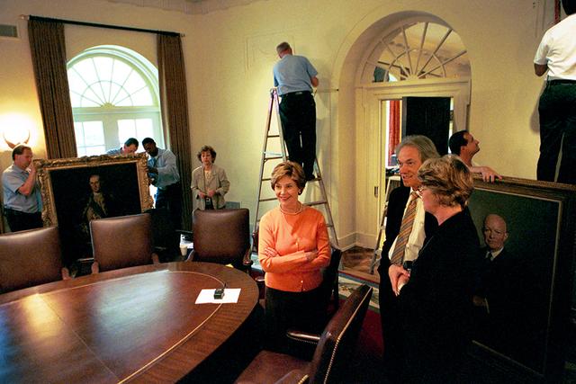Mrs. Laura Bush Views Cabinet Room Renovations