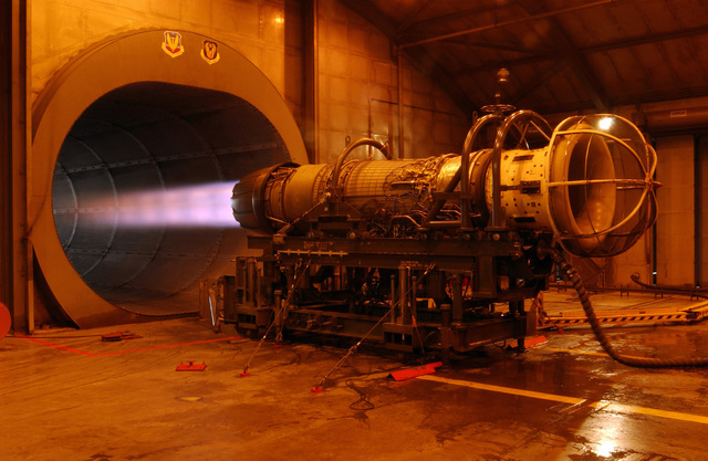 An F110 jet engine is tested inside the Engine Test Cell operated by the 20th Component Maintenance Squadron at Shaw Air Force Base, S.C., on September 9, 2004. (U.S. Air Force photo by STAFF SGT. Josef Cole) (Released)
