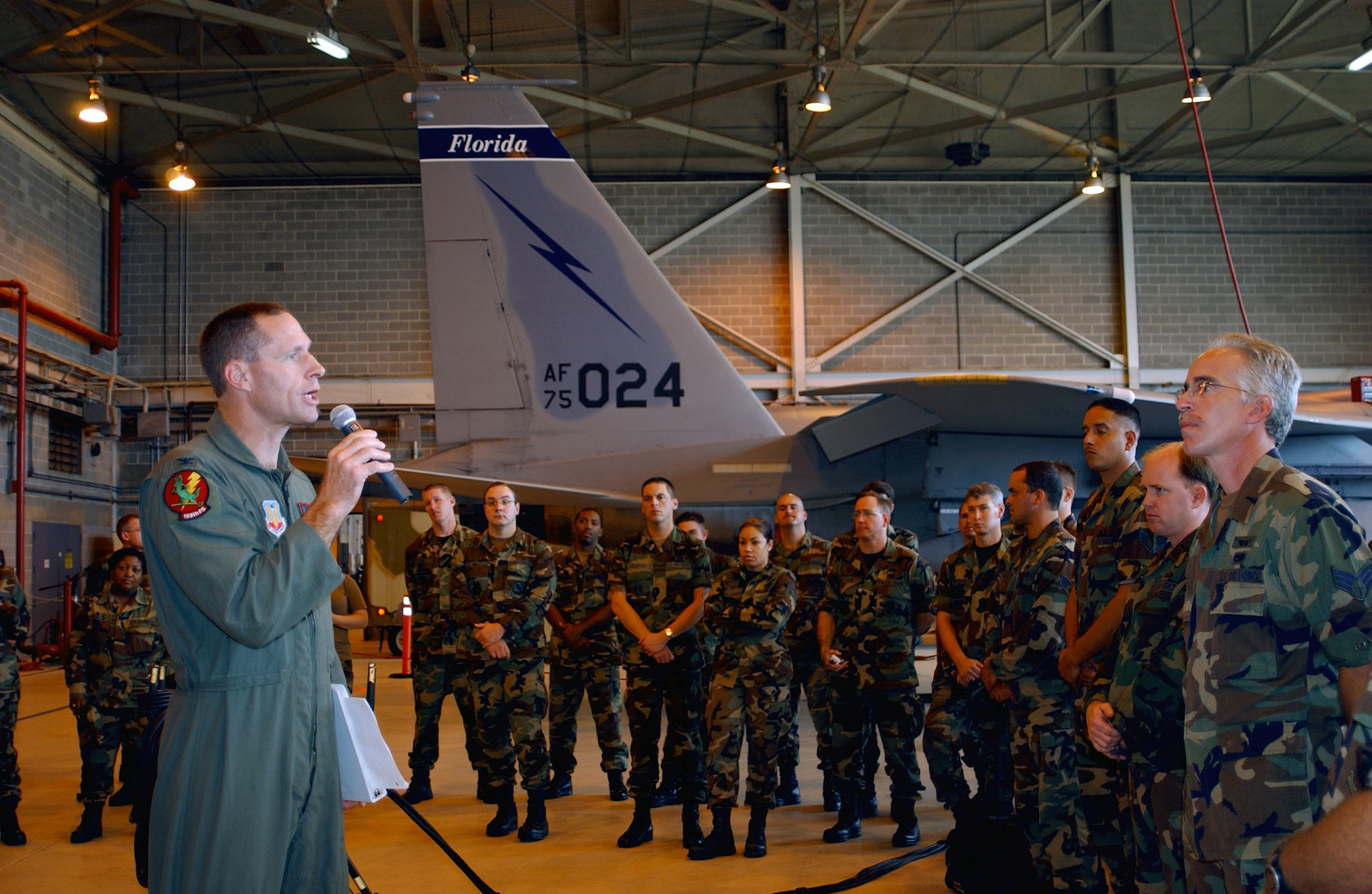 U.S. Air Force COL. James A. Firth, Commander, 125th Fighter Wing, briefs members of the Unit regarding state activation orders for Hurricane Ivan, at Jacksonville International Airport, Fla, on September 11, 2004. (U.S. Air Force PHOTO by SENIOR MASTER SGT. Lea-An Steiner) (Released)
