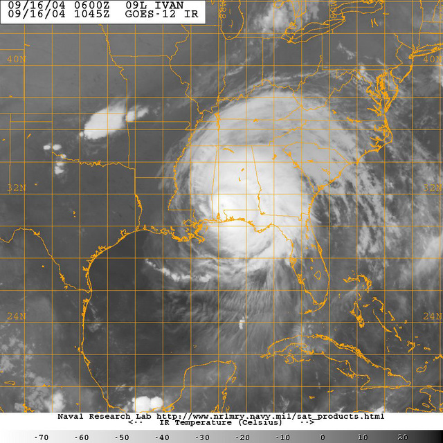 A black and white satellite image of category four Hurricane Ivan at approximately 0645 EST. from the GOES-12 satellite