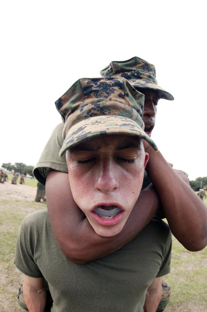 A US Marine Corps (USMC) Recruit, Mike Company (M Co), 3rd Recruit Training Battalion (RTBN), demonstrates a rear figure four chokehold during a USMC Martial Arts sustaining exercise at Marine Corps Recruit Depot (MCRD) Parris Island, South Carolina (SC)