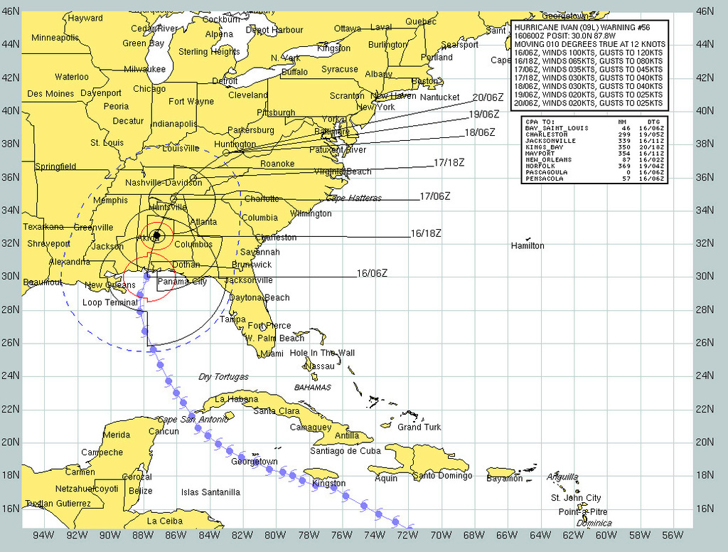 The Projected Forecast Path And Wind Speeds Of Hurricane Ivan From Sept 16 To Sept 20 On A Map Created By The Naval Atlantic Meteorology And Oceanography Center Namoc Picryl Public Domain Image