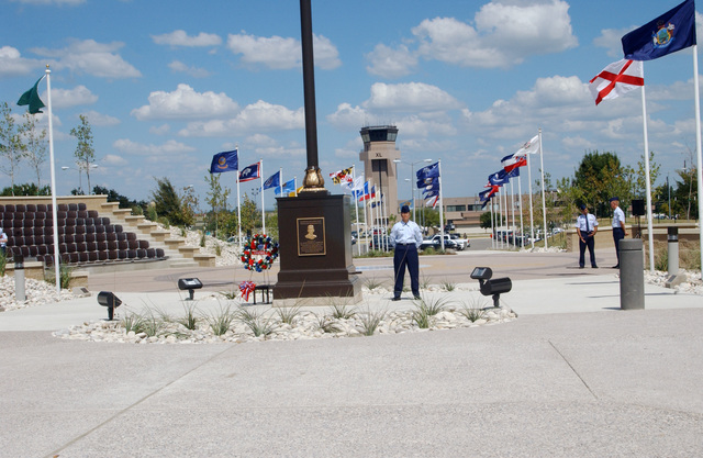 U.S. Air Force AIRMAN 1ST Class Yvette Myers, 47th Comptroller, stands vigil during POW/MIA day, at the wing flagpole, Laughlin Air Force Base, TX, on Sept. 17, 2004.(U.S. Air Force PHOTO by Cheryl Gonzales, CIV.) (RELEASED)