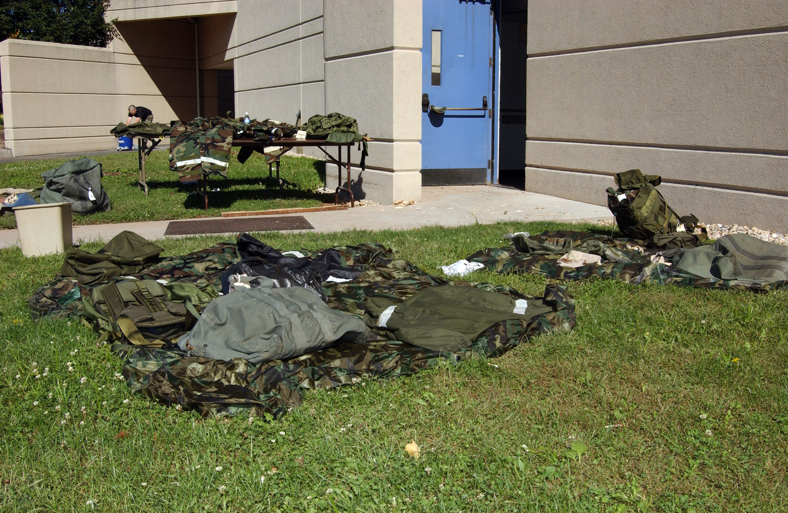 Wet equipment lies out to dry on Sept. 19, 2004, at the Pennsylvania Air National Guard 193rd Special Operations Wing building after the remnants of Hurricane Ivan pass through the area. (U.S. Air Force photo by SENIOR AIRMAN Matt Schwartz) (Released)
