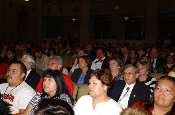 Audience at the Living Legacy Awards event, recognizing contributions to Native American arts promotion, at Department of Interior headquarters, Washington, D.C.