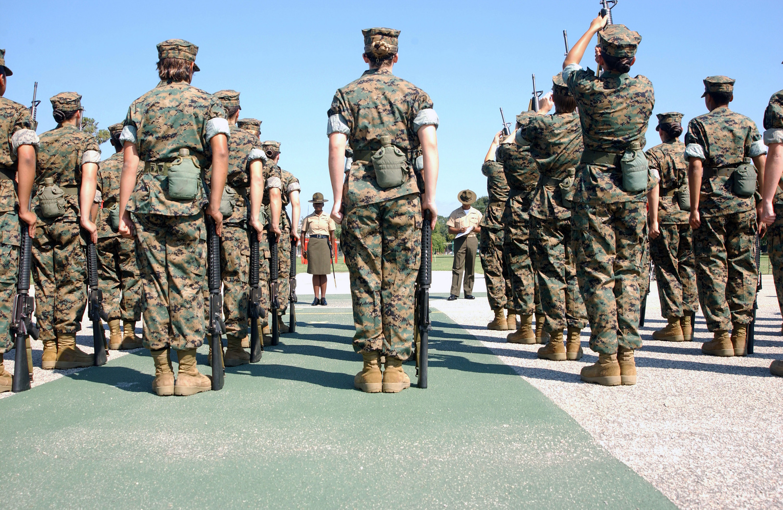 us marine corps usmc drill instructors inspect the new female