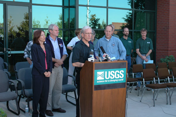 U.S. Geological Survey's Chief Scientist for Volcano Hazards, Jeff Wynn, speaking during press conference, concerning an aerial survey of Mount St. Helens and the status of the rumbling volcano, at the Geological Survey's Cascades Volcano Observatory in Vancouver, Washington